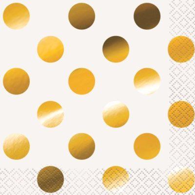 Gold Polka Dot Napkins – 16PK