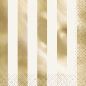 Gold Stripe Napkins – 16PK
