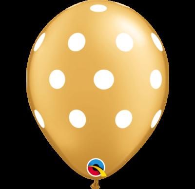 Polka Latex Balloons – Gold / White Dots 10 Pk