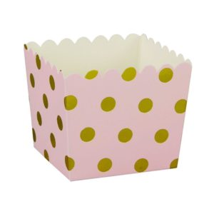 Pink with Gold Foil Large Dot Scallop Favour Box – 6PK