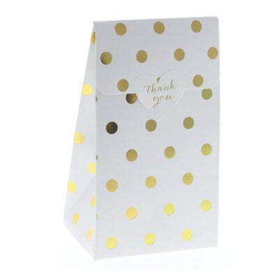 White with Gold Foil Polkadot Treat Box – 12PK