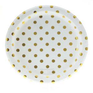 White with Gold Foil Polkadot Plates – 12PK