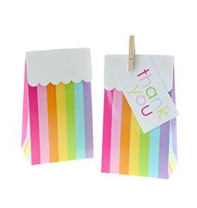RAINBOW CANDY STRIPE GIFT BOX BAG – 12PK