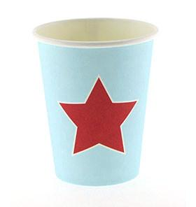 Blue with Red Star Cups  – 12PK