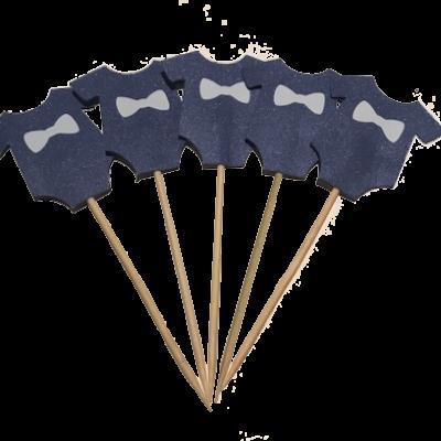 Boy Shirt Cupcake Toppers – Blue (10 PK)