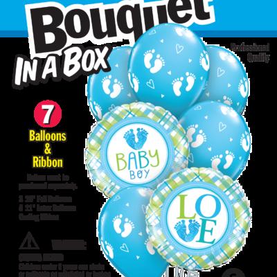 FOIL BOUQUET IN A BOX BABY BOY FOOTPRINTS