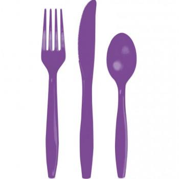 Purple plastic Cutlery set