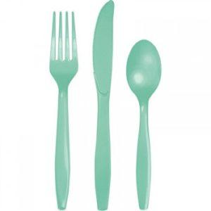 Mint plastic Cutlery set