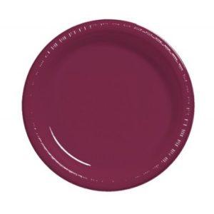 Burgundy Plain Plates – 25 PK