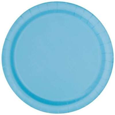 Light Blue Round Plain Plates – 16 PK