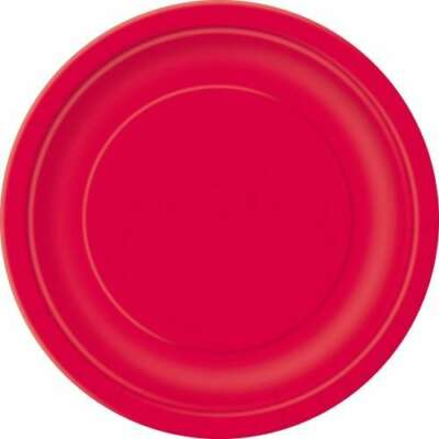 Red Round Plain Plates -16PK