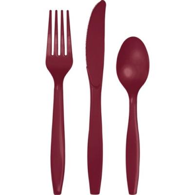 Burgundy plastic Cutlery set