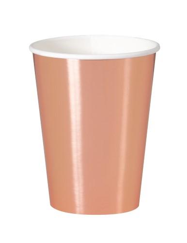 Rose Gold Plain Paper Cups – 8PK