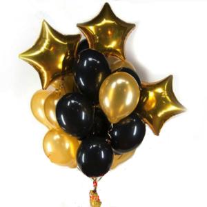 Balloon Bouquet Black & Gold – 10 Piece