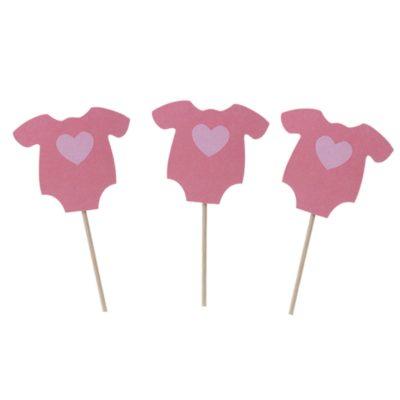 Girl Shirt Cupcake Toppers – Pink (10 PK)