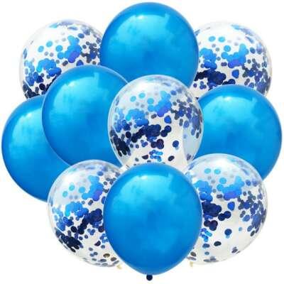 Blue Confetti Balloon Bouquet – 10 Piece