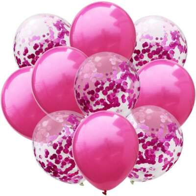 Pink Confetti Balloon Bouquet – 10 Piece