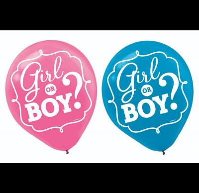 Gender Reveal Boy or Girl Printed Balloons – 6 Pack