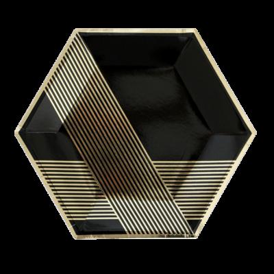 Noir Hexagon Large Plates – 8 Pack