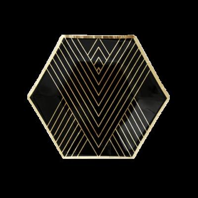 Noir Hexagon Dessert Plates – 8 Pack