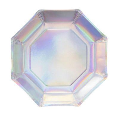 Iridescent Hexagon Plates – 8 Pack