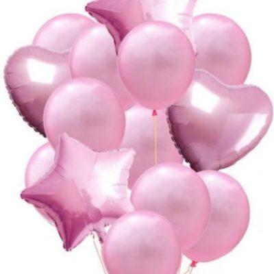 Pink Balloon Bouquet (Foil & Latex)- 10 Piece