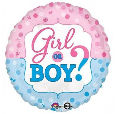 18″ Gender Reveal Boy or Girl Foil Balloon